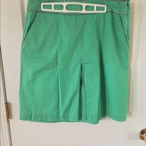 L.L. Bean Kelly Green Pleat Front Skirt-Sz 12